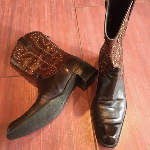 Stuart Weitzman studded two tone cowboy boots